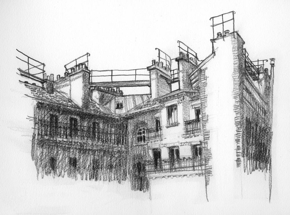 toit de maison dessin Passerelles sur le toit des maisons ouvrières de la rue Abel Juin 2015.  Dessin au crayon Faber Castell sur papier blanc Canson C à grain 180g-m2.